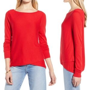 Halogen Red Crossover Front Knit Sweater S M L